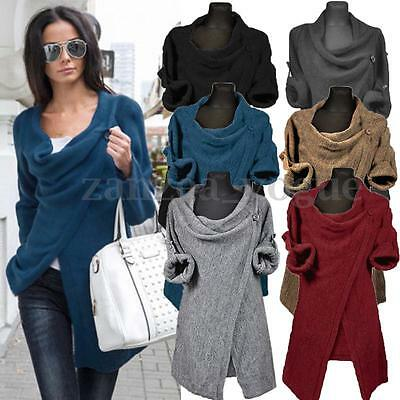 Zanzea Women's Cowl Neck Jumper Cardigan Coat Wrap Sweater Blouse Tops Outwear