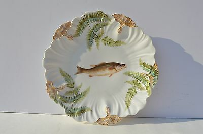 Beautiful Antique Hand Painted Limoges Plate Depicted Fish, Leaves, Gold Trim