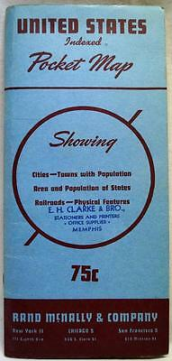 Rand Mcnally Company United States Map & Index Guide 1946 Edition Vintage