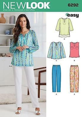 New Look Sewing Pattern Misses' Top Tunic Pull-On Trousers Size 10 - 22 6292 A