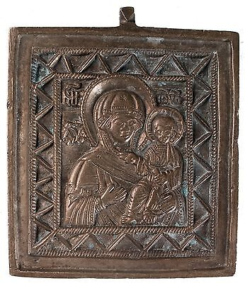 Old Antique Russian Bronze Icon of Smolenskaya Mother of God, 19th c