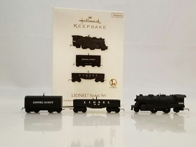 Hallmark Miniature Ornament 2010 Lionel Scout Set - 3 Lionel Trains - #QXM9036