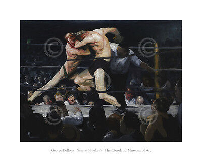 George Wesley Bellows A Stag at Sharkey/'s 1909 Boxing 6x5 Inch Print