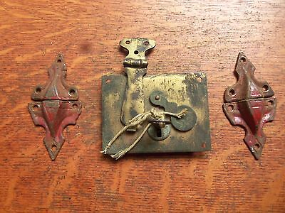 Antique Working Brass Keyed Trunk Padlock with Eagle & Straight Catches c1880