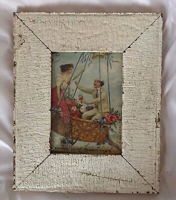 """1890's Reclaimed Wood Picture Frame 5"""" x 7"""" Wooden Antique Shabby White 660-17"""