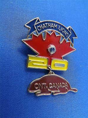 Lions Club Canada Chatham Ontario Vintage Pin Canada Beaver