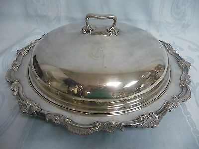 LOVELY SILVER PLATE COVERED DISH/DOME w/SCROLL PATTERN - BARBOUR INTERNTIONAL