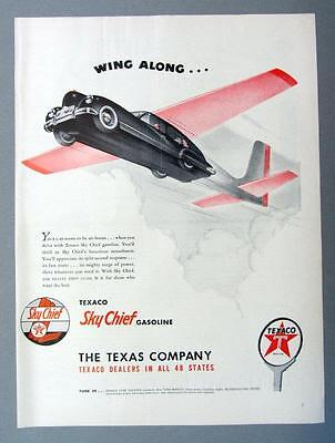 10 by 14 Original 1947 TEXACO Ad WING ALONG WITH SKY CHIEF GASOLINE