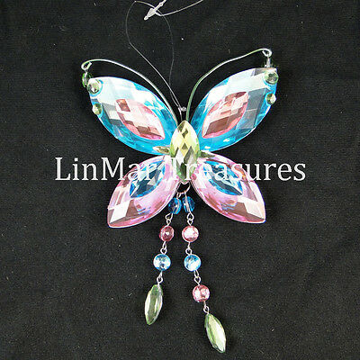 Crystal Expressions Butterfly Sun Catcher Ornament by Ganz Blue Pink Green