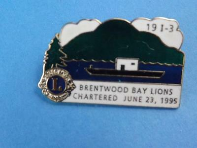 Lions Club Canada Brentwood Bay Boat Ship Vintage Hat Lapel Pin