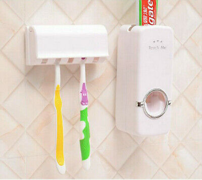 2017 Automatic Toothpaste Dispenser Toothbrush Holder Stand Set Wall Mount Rack