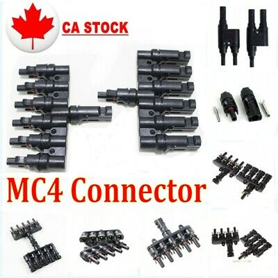 1 Pair MC4 Solar Panel Y Branch T Branch PV Connectors Male+Female Adapter Cable