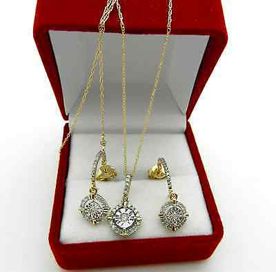 Jewelry Set 10k Yellow & White Gold Diamonds Earrings Chain Charm Necklace