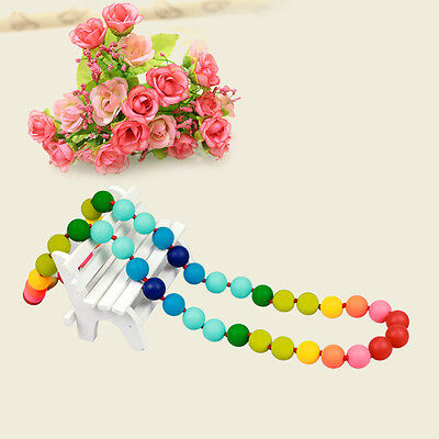 Teething Nursing Breastfeeding Necklace Bead Baby Chew Jewelry Silicone Necklace