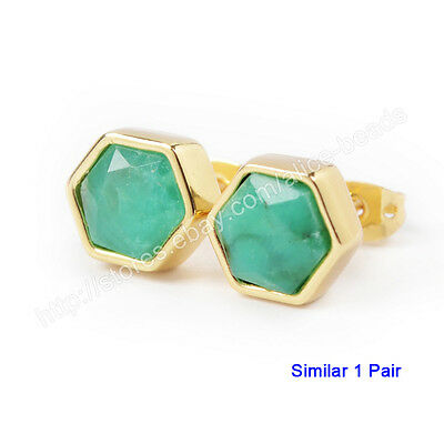 1Pair Hexagon Natural Chrysoprase Faceted Gold Plated Bezel Studs 9mm HZG093