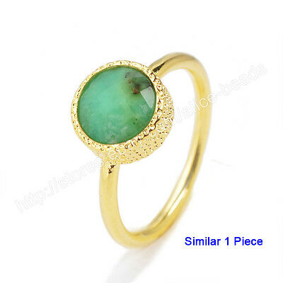 1Pcs SZ 5.5~7 Natural Chrysoprase Faceted Gold Plated Bezel Ring NEW 9mm HZG114
