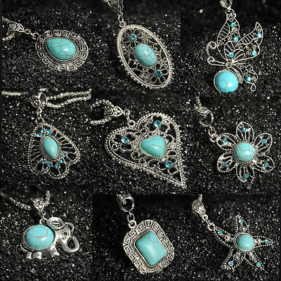 Fashion Vintage Turquoise Women Tibetan Silver Bib Crystal Pendant Long Necklace