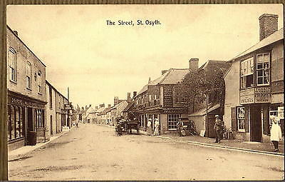 Postcard ~ THE STREET People & Shops ST. OSYTH Essex ~ Early