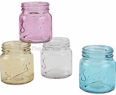 Vintage Set of 4 Mason Drinking Glass Jam Jars Coloured Shot Glasses Retro Party