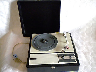 1970s Black and white Mod Kosmophon Portable vintage Record player