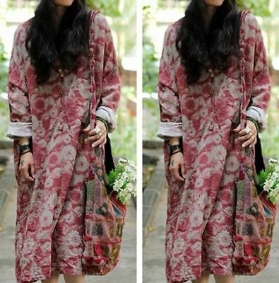 Floral Casual Maxi Plus Length Double Cotton Women Dress Gown Caftan