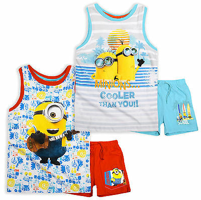 Boys Official Minions Sleeveless Vest And Shorts Set New Kids Outfits 3-8 Years
