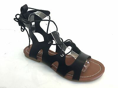 Womens Ladies Ankle Gladiator Sandals Lace Up Straps Flat Shoes Summer Cut Out