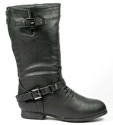 Girls Kids Black Faux Leather Knee High Back Zipper Buckled Riding Boot
