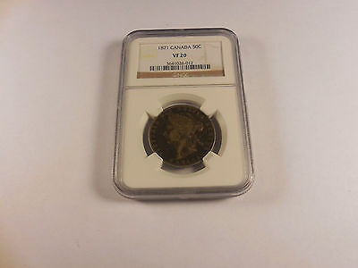 1871 Canada Fifty Cents - NGC VF 20 - Low Mintage - Nice