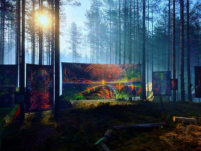 Backdrop Terraforming Psychedelic Deco Wandbehang 3m x 7m Hippie Goa Tuch Kunst