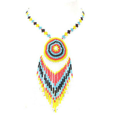 New White Multi-Color Beaded Lariat Handcrafted Long Fashion Necklace N20/6