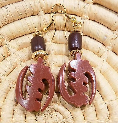 African Gye Nyame Earrings Set BROWN tribal ethnic boho jegn3