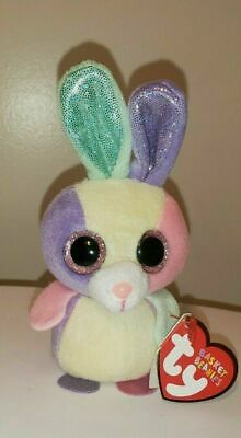 """Ty Basket Beanie Baby ~ BLOOM the 4"""" Bunny Rabbit ~ MWMTS ~ Stuffed Toy ~IN HAND"""