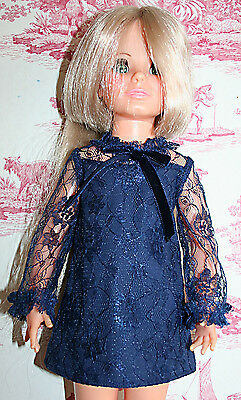 Fab Navy Lace Dress For Ideal Crissy Sized Dolls