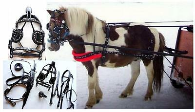 Black SPOTTED Leather Mini Sh Pony Driving show training cart harness Just in