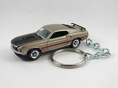1969 FORD MUSTANG MACH 1 MACH1 Coupe Gold Key FOB Keyring Keychain