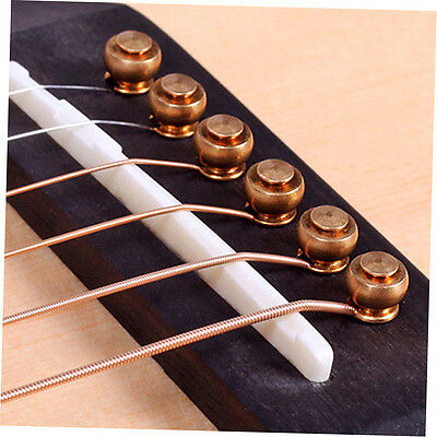 6 Pcs Solid Brass Bridge Pins For Acoustic Guitar Strings Accessories DIY zp