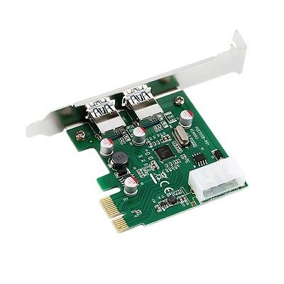 PCI-E PCI Express 2 port USB 3.0 Card Adapter w/ USB 3.0 Front Panel zp