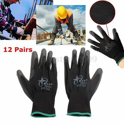 12 Pairs Nylon PU Anti-stat Safety Work Gloves Builders Grip Palm Coating Glove