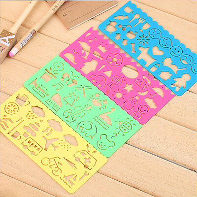 4Pcs Art Stencils Plastic Templates Rulers for Drawing DIY Kids Students School