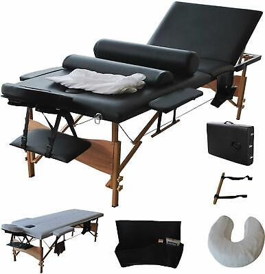 "New 84""L Massage Table 3 Fold Portable Facial Bed W/ Sheet Bolsters Carry Case"