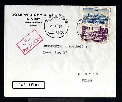 11502-LEBANON-AIRMAIL COVER BEYROUTH to ZURICH (switzerland).1951.Liban.LIBANO.