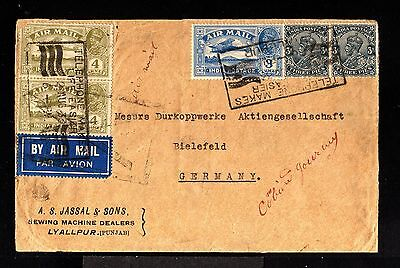 11532-INDIA-AIRMAIL COVER LYALLPUR to BIELEFELD (germany).1933.WWII.BRITISH.Inde