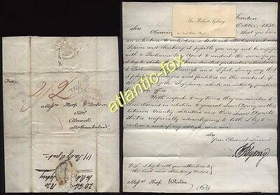 1830 Sir Robert Sydney letter with Calling Card, London  to Alnwick prepaid 2/2d