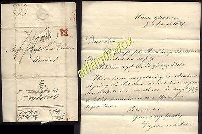 """1831 HOUSE OF COMMONS letter to ALNWICK + Post Office Inspectors """"Star"""""""