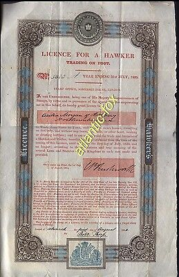 1835 34 LICENCE FOR A HAWKER Trading on foot to Cicilia Morgan of ROTHBURY