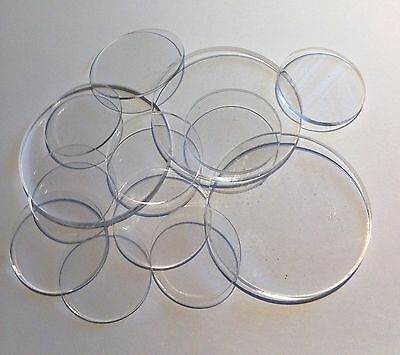 "25 Pcs 2"" Dia. x 1/16"" Thick Laser Cut Clear Cell Cast Acrylic  Disks"