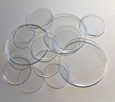 "50 Pcs 1 1/2"" Dia. x 1/16"" Thick Laser Cut Clear Cell Cast Acrylic  Disks"