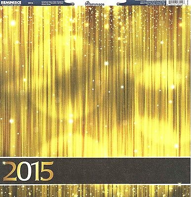 Reminisce - 2015 Gold Sparkle Scrapbooking Paper - Class of, New Years