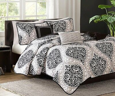 SENNA BLACK WHITE DAMASK 5pc Full Queen COVERLET SET : MODERN SWIRL GREY QUILT